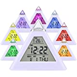 HAMSWAN Simple Digital Alarm Clock 7 LED Color Change Pyramid with Temperature, Alarm and Sleeping Function