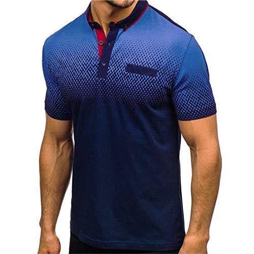 BAOHOKE Gradient Stripe Splicing Pattern Casual Fashion Lapel Short Sleeve Shirt Men T Shirt (Blue,2XL)