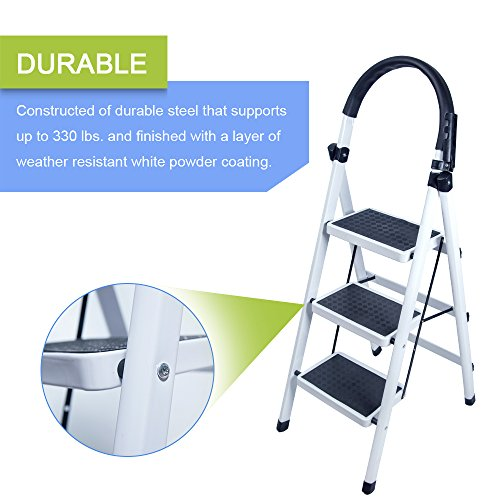 Gimify 3 Step Ladder Household Folding Steel Frame Stool Platform Ladder Anti-Slip Portable White (3 Step) by Gimify (Image #2)