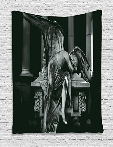 Ambesonne Sculptures Decor Collection, Angel Architecture Monuments Sadness Gothic Mysticism Themed Greek Artwork Print, Bedroom Living Room Dorm Wall Hanging Tapestry, Black Dimgrey