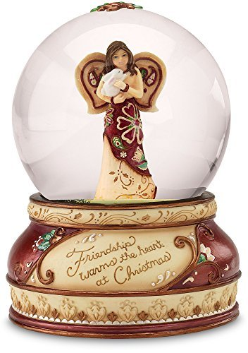 Perfect Paisley Holiday by Pavilion 100mm Musical Waterglobe, Friendship Sentiment, Tune - Have Yourself a Merry Little Christmas (Musical Angel Snowglobe)