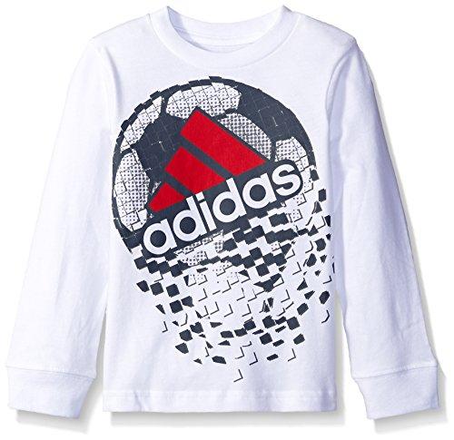 adidas Little Boys' Basic Long Sleeve Tee Shirt, White Helmet, (5 Long Sleeve T-shirt)