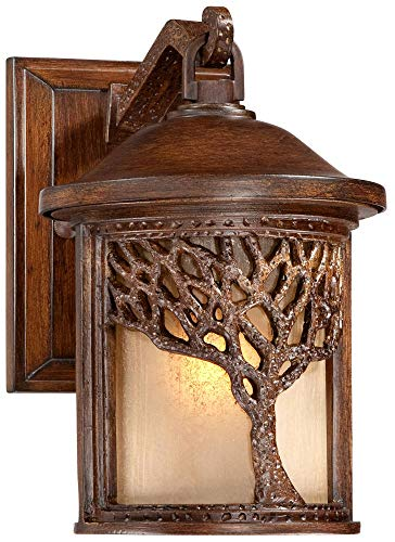 Rustic Outdoor Wall Light Fixture Bronze 9 1/2'' Tree Etched Glass Sconce for Exterior House Deck Patio Porch Lighting - John Timberland by John Timberland (Image #1)