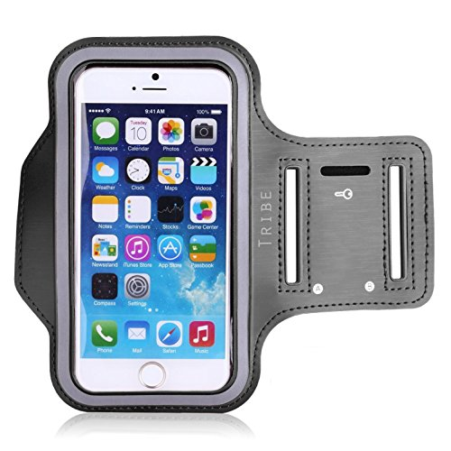 Large Product Image of Water Resistant Cell Phone Armband: 5.2 Inch Case for iPhone 7, 6, 6S, SE, 5, 5C, 5S, and Galaxy S5, Google Pixel - Adjustable Reflective Velcro Workout Band, Key Holder & Screen Protector