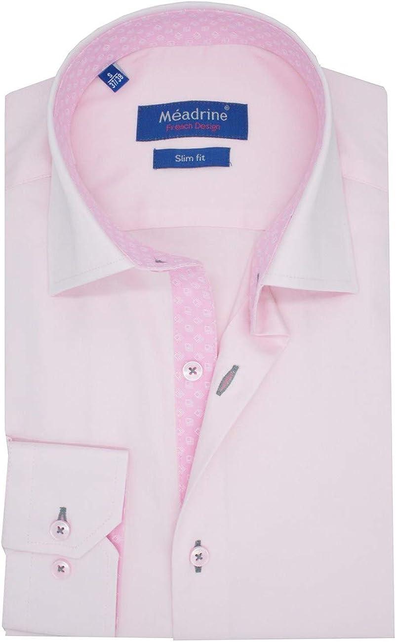 Meadrine - Camisa para hombre, color rosa claro y jacquard ...