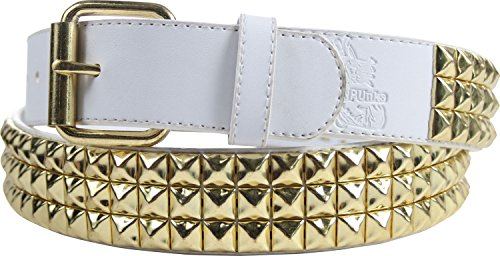 (Triple Row Studded Leather Belt in White/Gold by BodyPunks, Size: X-Large (41-45), Color: White/Gold 3 Row)