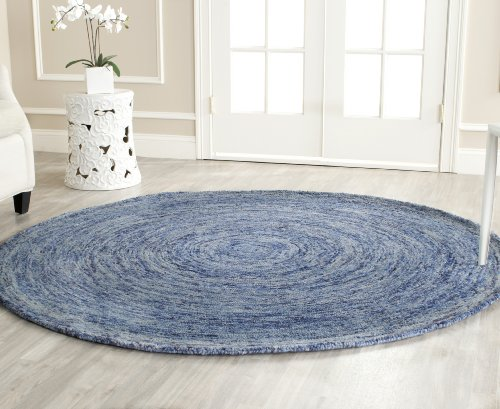 Safavieh Ikat Collection IKT633A Handmade Dark Blue and Multi Premium Wool Round Area Rug (8' Diameter) 8' Round Wool Rug