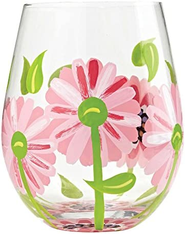 Designs by Lolita Oops a Daisy Hand-painted Artisan Stemless Wine Glass, 20 oz.