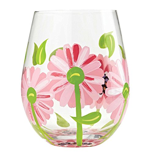 "- Designs by Lolita ""Oops a Daisy"" Hand-painted Artisan Stemless Wine Glass, 20 oz."