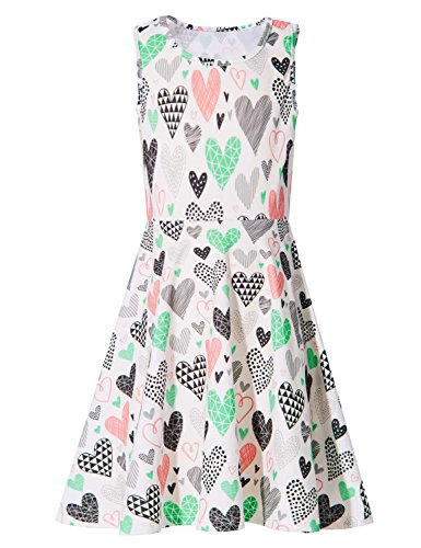 BFUSTYLE Active Primary School Girls Swing Cozy Knee-Length Gown Dresses Sleeveless Summer Dress for Vacation Holiday Trip (XL,Heart Pattern)