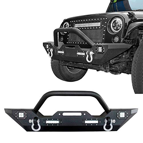 Rock Crawler Front Bumper Guard for for 2007-2018 Wrangler JK & Unlimited w/Winch Plate & 4X LED Accent Lights