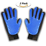 Pet Grooming Glove,2-in-1 Hair Remover Mitt Best Grooming Gentle Deshedding Brush and Massage Tool for Dog, Cat, Horses with Long Short Fur (blue)