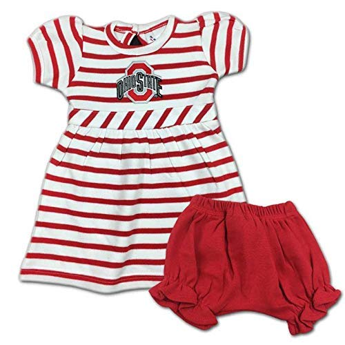 Two Feet Ahead Ohio State Buckeyes Infant Embroidered Striped Dress and Diaper Cover (12 Months)