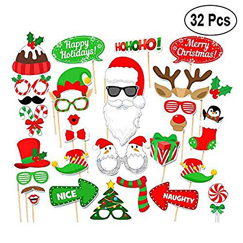 32pcs Christmas DIY Decoration Photo Booth Props Funny Santa Claus Elk Children Mask Glasses On A Stick Xmas Party Supplies