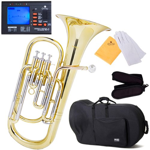 Mendini MBR-30 Intermediate Brass B Flat Baritone with Stainless Steel Pistons by Mendini