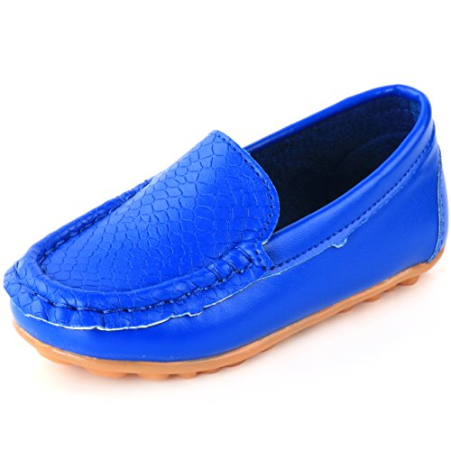 LONSOEN Toddler/Little Kid Boys Girls Soft Synthetic Leather Loafer Slip-On Boat-Dress Shoes/Sneakers,Navy Blue,SHF103 CN33]()