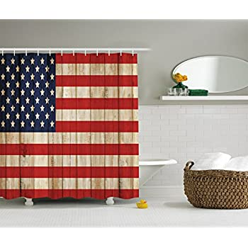 American Flag Shower Curtain USA Decor by Ambesonne  Independence Day  Concept and Damaged Wooden Fence with USA Flag Pattern  Polyester Fabric  Bathroom Set   Amazon com  Best Beautiful American Flag Shower Curtain  Shower  . Red And Blue Shower Curtain. Home Design Ideas