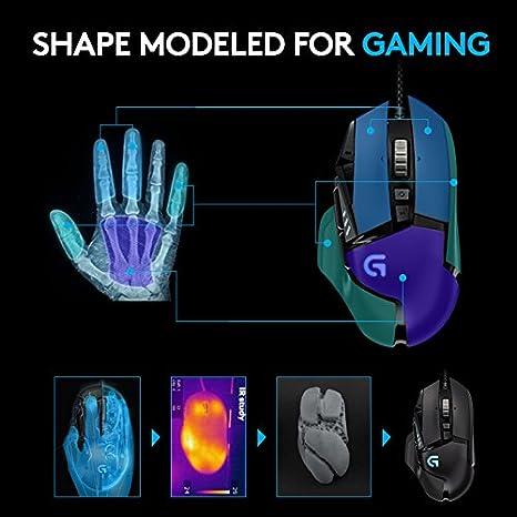 Logitech G502 Proteus Spectrum Ratón Gaming con Cable RGB Personalizable, Seguimiento Óptico 12.000 DPI, Peso Personalizable, 11 Botones Programables, ...