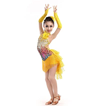 fc6a303da Kids Girls Sequins Latin Dance Outfits Sleeveless Backless Tassels Rumba  Salsa Ballroom Dancewear Performance Competition Dancing