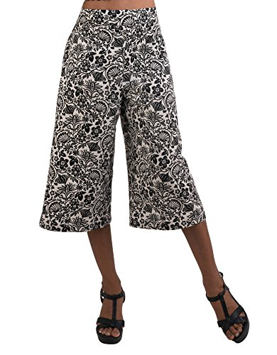 Gaucho Pants Women (Women's Organic Cotton Capri Pants, Black and White Floral Gauchos by Tropic Bliss L)
