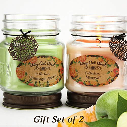 Scented Jar Candles Fruity Fragrances Mimosa - Grapefruit Citrus - and Champagne Apple - Long Lasting Soy Wax Blend Candle (2- 8 oz) - Great Holiday Gift Idea for Her- Made in USA by Way Out West