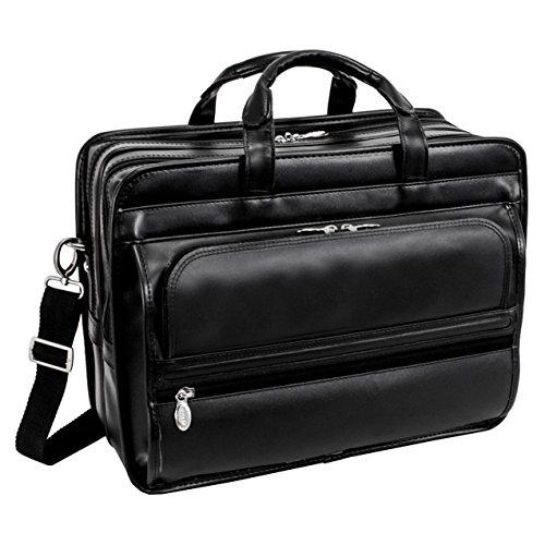 mckleinusa-elston-86485-black-leather-double-compartment-laptop-case