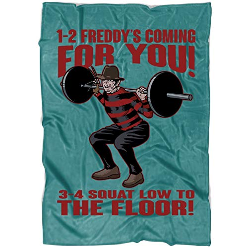 ROEBAGS 1-2 Freddy's Coming for You 3-4 Squat Low to The Floor Soft Fleece Throw Blanket, Friday The 13th Halloween Blanket for Bed and Couch (Large Fleece Blanket (80