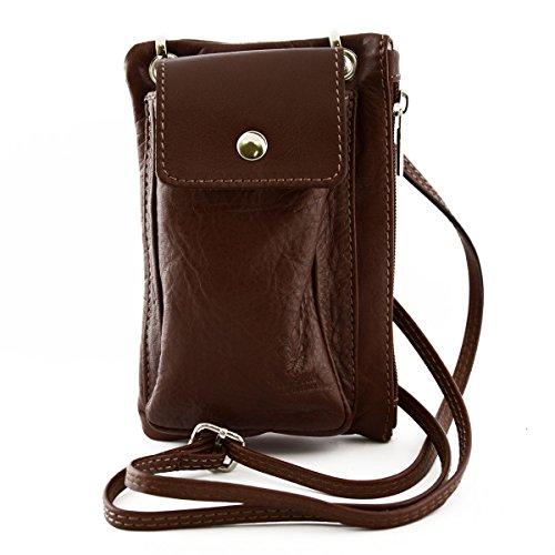 Mini Borsello Unisex Con Tasca Per Smartphone Colore Marrone - Pelletteria Toscana Made In Italy - Borsa Uomo