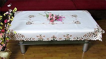 LILSN- manteles continentales cubren la cubierta de mesa de café refrigerador toalla calado bordados hechos a mano ...