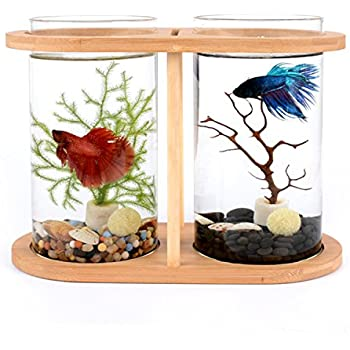 segarty cool design desktop glass fish tank small fish bowls with dual glass vase. Black Bedroom Furniture Sets. Home Design Ideas