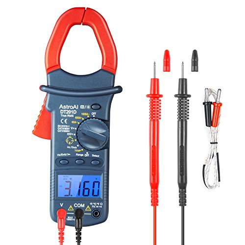 AstroAI Digital Clamp Meter, TRMS 6000 Counts Multimeter Volt Meter with Manual and Auto Ranging; Measures Voltage Tester, Current, Resistance, Continuity, Frequency; Tests Diodes, Temperature from AstroAI