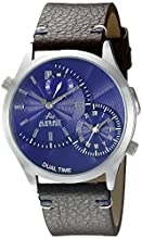 August Steiner Men's AS8167BU Silver Dual-Time Zone Quartz Watch with Blue Dial and Brown with White Stitching Leather Strap