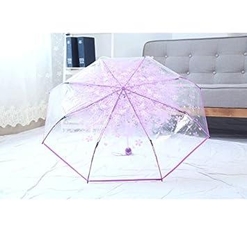 AZX Flor Paraguas Transparente para Mujer, Paraguas Plegable Antiviento, Paraguas para Lluvia (Pulpura