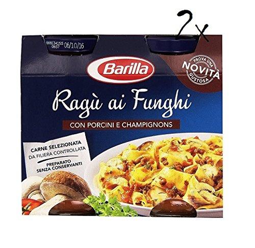 2x Barilla (Ragù ai Funghi) Tomato and Mushroom Pasta Sauce 2x 180g