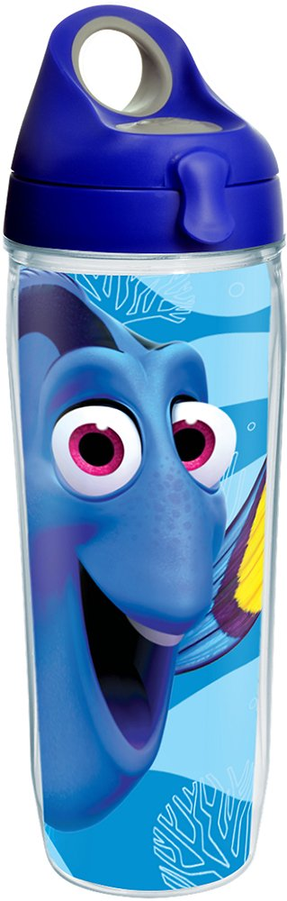 Tervis 1227866 Disney/Pixar - Finding Dory Colossal Tumbler with Wrap and Blue with Gray Lid 24oz Water Bottle, Clear