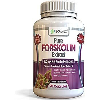 Pure Forskolin Extract for Weight Loss, Metabolism Booster and Belly Fat Burner :: (Coleus Forskohlii Supplement) 90 capsules