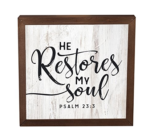He Restores My Soul White Wash 11 x 11 Inch Solid Pine Wood Farmhouse Frame Wall Plaque