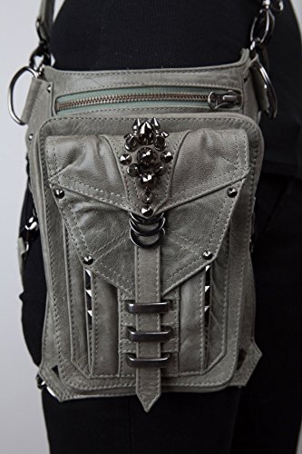 SHARK BITE Grey Leather Hip Bag / Shoulder Holster / Cross-body Bags by Jungle Tribe