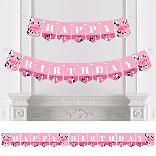 Big Dot of Happiness Pawty Like a Puppy Girl - Pink Dog Birthday Party Bunting Banner - Birthday Party Decorations - Happy Birthday ()