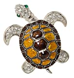 Turtle Enamel Brooch Pin with Exquisite Detail and Crystal Accents