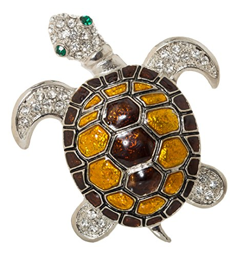 (Turtle Enamel Brooch Pin with Exquisite Detail and Crystal Accents)