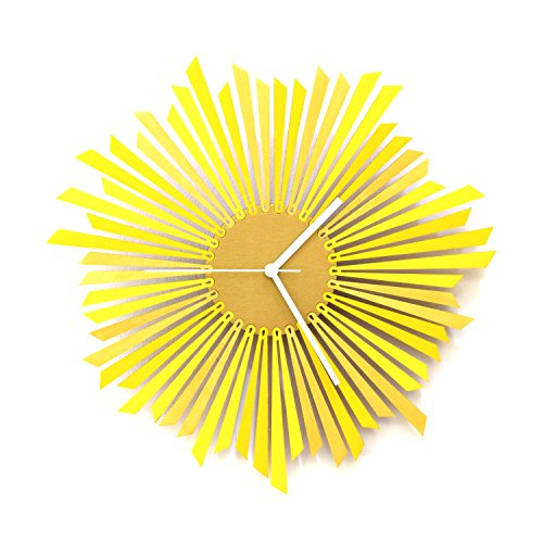 The Sun - Stylish Yellow and Gold Wooden Wall Clock, a Piece of Wall Art by ardeola