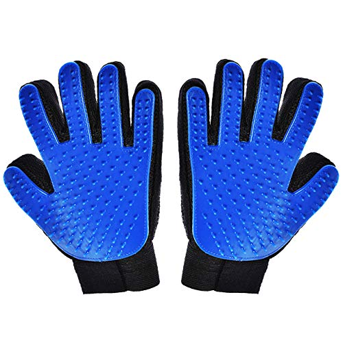 Hilltop Products 1 Pair – Dog, Cat, Pet Grooming Gloves – Easy Pet Hair Remover Mitts. Fiver Fingers Gloves Massage Tool