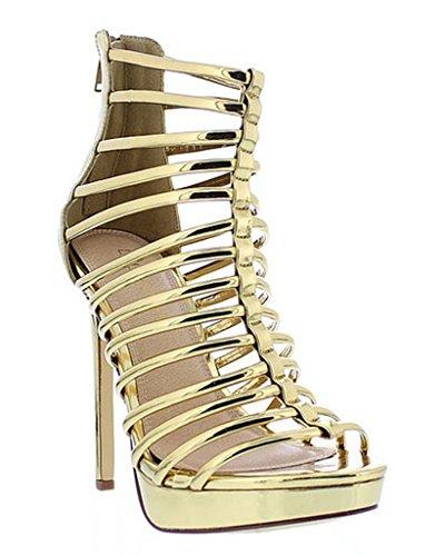 [Strappy Open Toe Women High Heel Booties Gladiator Liliana Ivanka17(Gold 10)] (Clunky Heels)