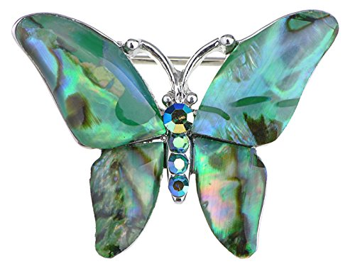 Pin Colored Flower (Alilang Silvery Tone Abalone Colored Stones Green Blue Butterfly Brooch Pin)