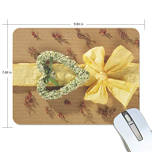 Mouse Pad Heart Love Gift Ribbon Yellow Customized Rectangle Non-Slip Rubber Mousepad Gaming Mouse Pad Mat 9.8x7.5-inch (Yellow Ribbon Mouse Pad)