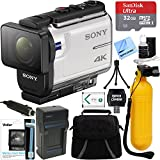 Beach Camera Sony FDR-X3000 4K Wi-Fi GPS Action Camera with Balanced Optical SteadyShot + 32GB Memory Card & Accessory Bundle