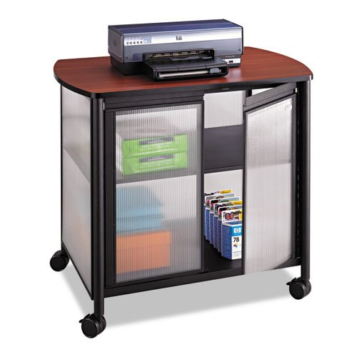 - Safco Impromptu Deluxe Machine Stand w/Doors, 34-3/4 x 24-1/4 x 30-3/4, Silver/Black