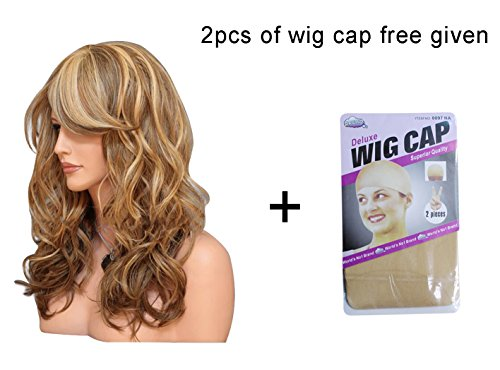 [Naovio Fashion Lady Long Wavy Curly Wigs Cosplay Wig Synthetic Fiber Heat Resistant Hairpiece, Dark] (Female Flasher Adult Costumes)