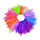 heliltd 30 Pcs Juggling Scarves, Organza Silk Scarf, Dance Square Colored Chiffon for Kids Party Accessory Decoration